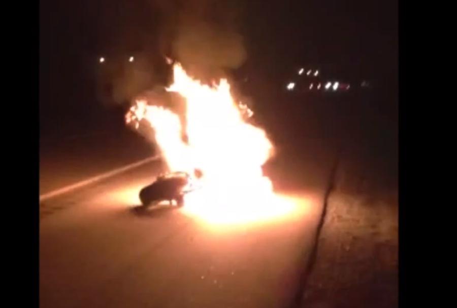 Kawasaki ZX10R w płomieniach