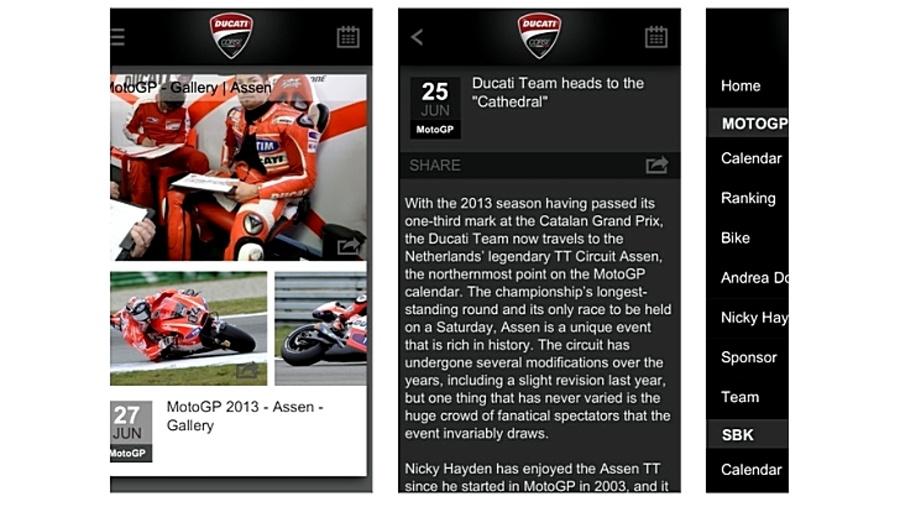 Nowa wersja aplikacji Ducati Corse