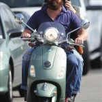 EXCLUSIVE: Zach Galifianakis takes his beard for a spin on his Vespa! LA