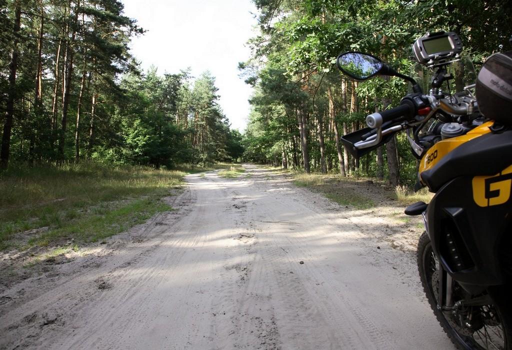 Piękne szutrowe drogi prowadziły na zmianę przez las i wśród łąk
