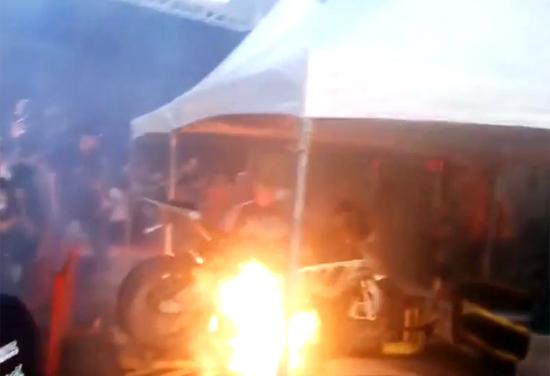 Płonące BMW