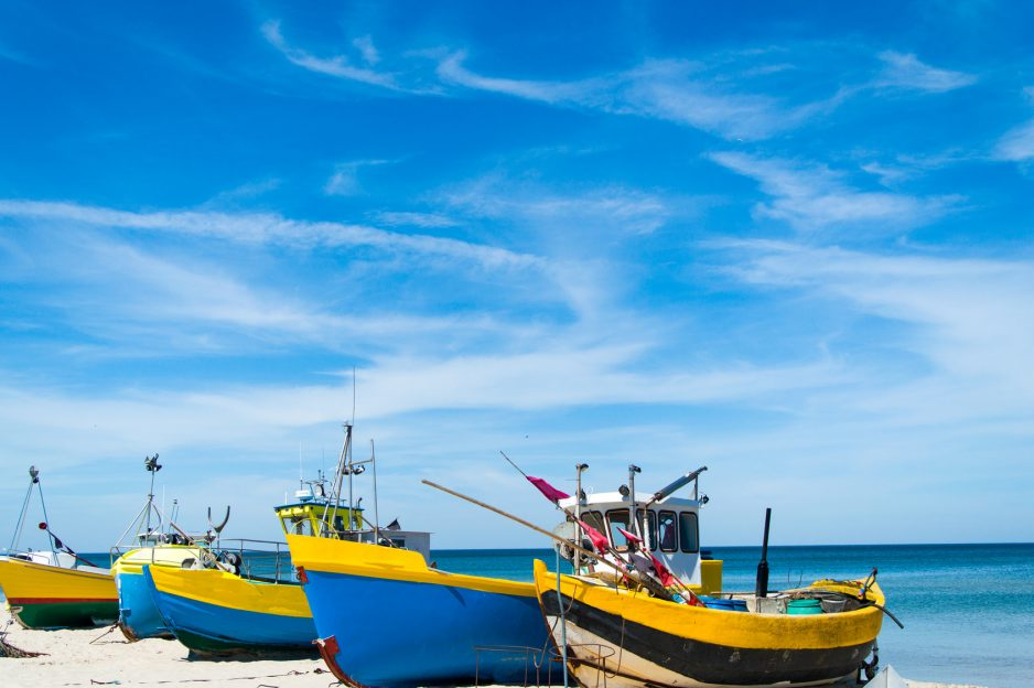 Fishing boats on the shore of the Baltic Sea in Kty Rybackie, Poland