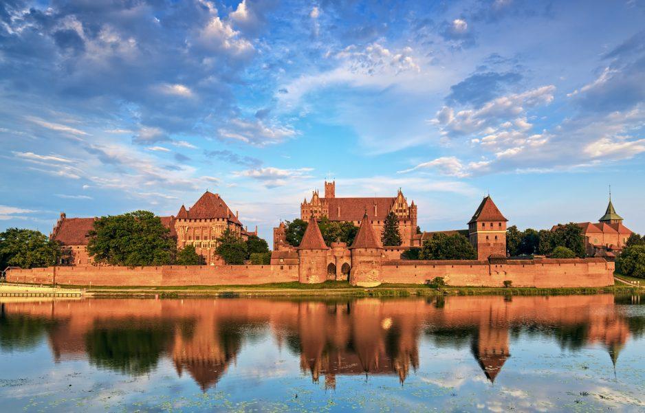 Teutonic Knights in Malbork castle in summer. World Heritage List UNESCO.
