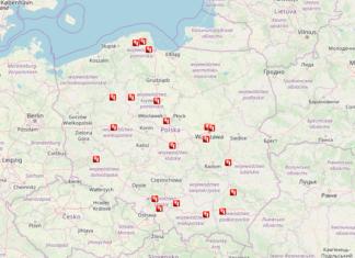 aktualna mapa rejestratorów przejazdu na czerwonym świetle