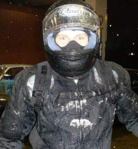 zima na motocyklu