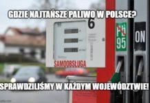 gdzie najtańsze paliwo w polsce benzyna bezołowiowa 95