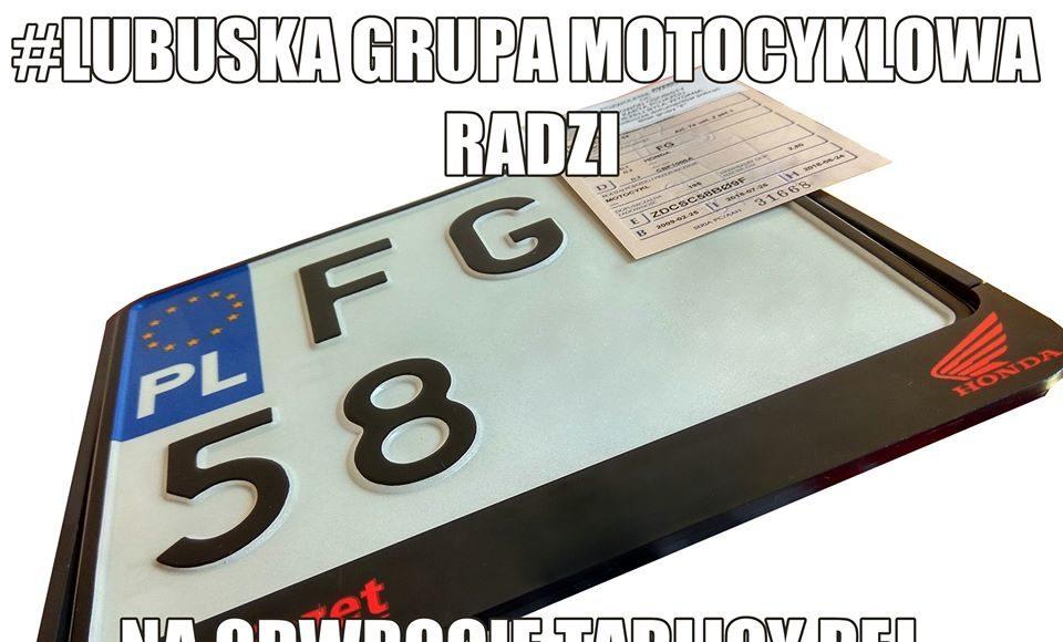 lubuska grupa motocyklowa radzi numer telefonu na odwrocie tablicy rejestracyjnej