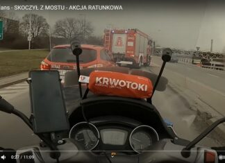 akcja ratunkowa motocyklisty topielec